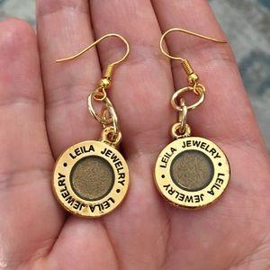 Leila shimmery bronze & gold fashion earrings